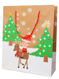 Xmas / Elf on a reindeer Gift bag