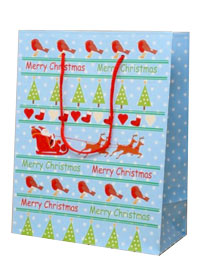Xmas / Merry Christmas gift bag robins & trees