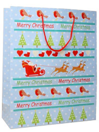 Xmas / Merry Christmas gift bag robins,tree