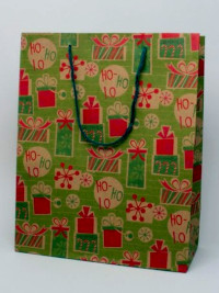Xmas / H32xW26xD12cm. Christmas presents print gift bag.
