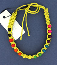 Bracelet / bright coloured bead and cord friendship bracelet
