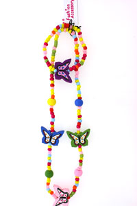 Neck / Blet. Seed bead and wooden Butterfly bead set.