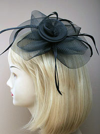 Fascinator / Josie - Large mesh and feather fascinator.