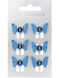 Clamp / Card of 6 coloured Glitter butterfly mini clamps.
