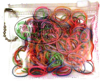 Purse / 250 polyurethane bands in bright colours.