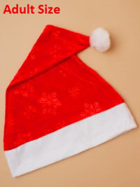 Xmas / Snowflake fabric red christmas santa hat.