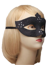 Mask / Black glitter mask with silver dot detail.