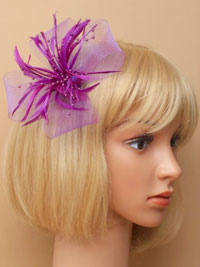 Fascinator / Willow - Lilac net and feather fascinator