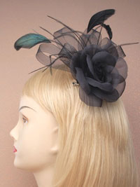 Fascinator / Agatha - Black flower and feather Fascinator.
