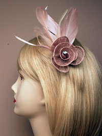 Fascinator / Rosie - Fabric mesh rosebud fascinator.