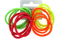 Elastics / Card of 12 Bright neon endless elastics.