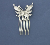 Comb / 2cm comb with crystal butterfly motif.