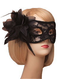 Mask / Black lace and flower masquerade mask.
