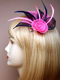 Fascinator / Fifi - Fabric netted rose with 3 petals.