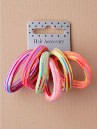 Elastics / Card of 6 striped jersey fabric endless elastics.