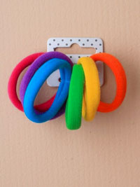 Elastics / Card of 6 Thick bright coloured jersey fabric end