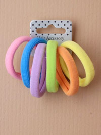 Elastics / Card of 6 Thick Pastel coloured jersey fabric end