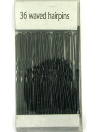 Hairpins / Pack of 36 Waved Black hairpins. 65mm