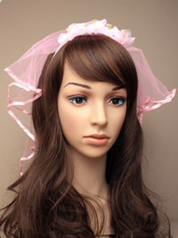 headdress / Pink rosebud aliceband with pink veil.