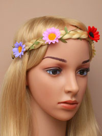Bandeau / Plaited imitation hair bandeau with flowers.