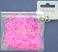 Purse / 250 Bright pink Polyurethane neoprene bands. 1mm