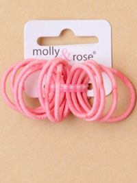 Elastics/ 12pk very small plain pink thin endless elastics.