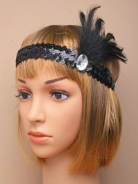 Bandeau / Black sequin browband Bandeau with oval stone an