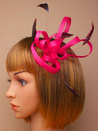 Fascinator / Maisy - Pink coiled feather fascinator.