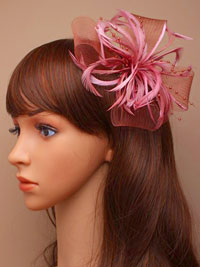 Fascinator / Willow - Pink net and feather fascinator.