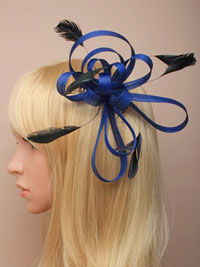Fascinator / Maisy - Navy Coloured coiled net and feather.