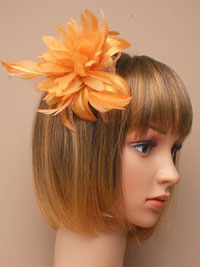 Clearance / Molly - Gold Feather flower fascinator.