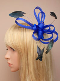 Fascinator / Maisy - Blue coloured coiled net and feather.