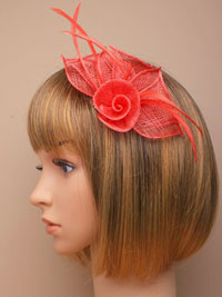 Fascinator / Coral fabric netted rose on a forked clip