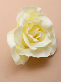 Clip / Large cream fabric rose on a forked clip.