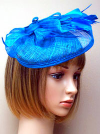 Fascinator / Alexi - Blue Looped sinamay hatinator.