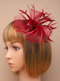 Fascinator / Willow - Burgundy net and feather fascinator.