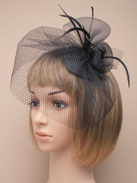 Fascinator / Paige - Small black skull cap fascinator.