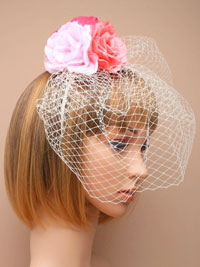 Clearance / Lizzy - Triple pink fabric flower fascinator.