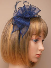 Fascinator / Verity - Navy sinamay and feather fascinator.