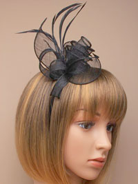 Fascinator / Marie - Black Coiled and looped Aliceband