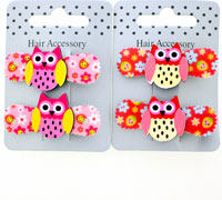 Clips / Pair of 4cm beak clips with bright coloured owl moti