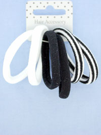 Card of 6 monochrome Jersey fabric endless elastics.