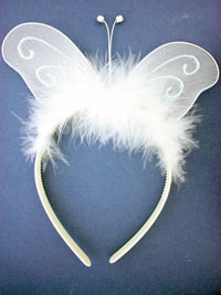 Deeley Bopper / White butterfly wings with feathers on an al