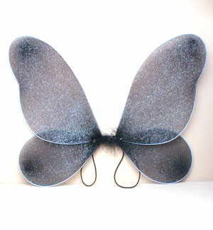 Halloween / Black net fairy wings with silver glitter