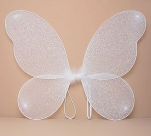Fairy Wings / White net fairy wings with silver glitter