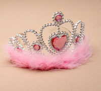Tiara / Children's Pink Heart plastic tiara with feather tri
