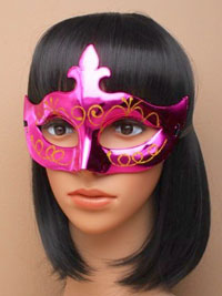 Mask / Shiny plastic masquerade mask with glitter detail.