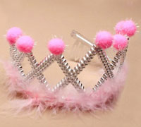 Tiara / Plastic with pompoms and feather trim