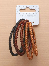 Elastic / Card of 6  Twist effect elastics in brown/black/br