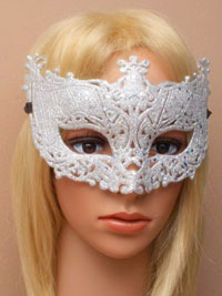 Mask / Antique style silver glitter filigree mask